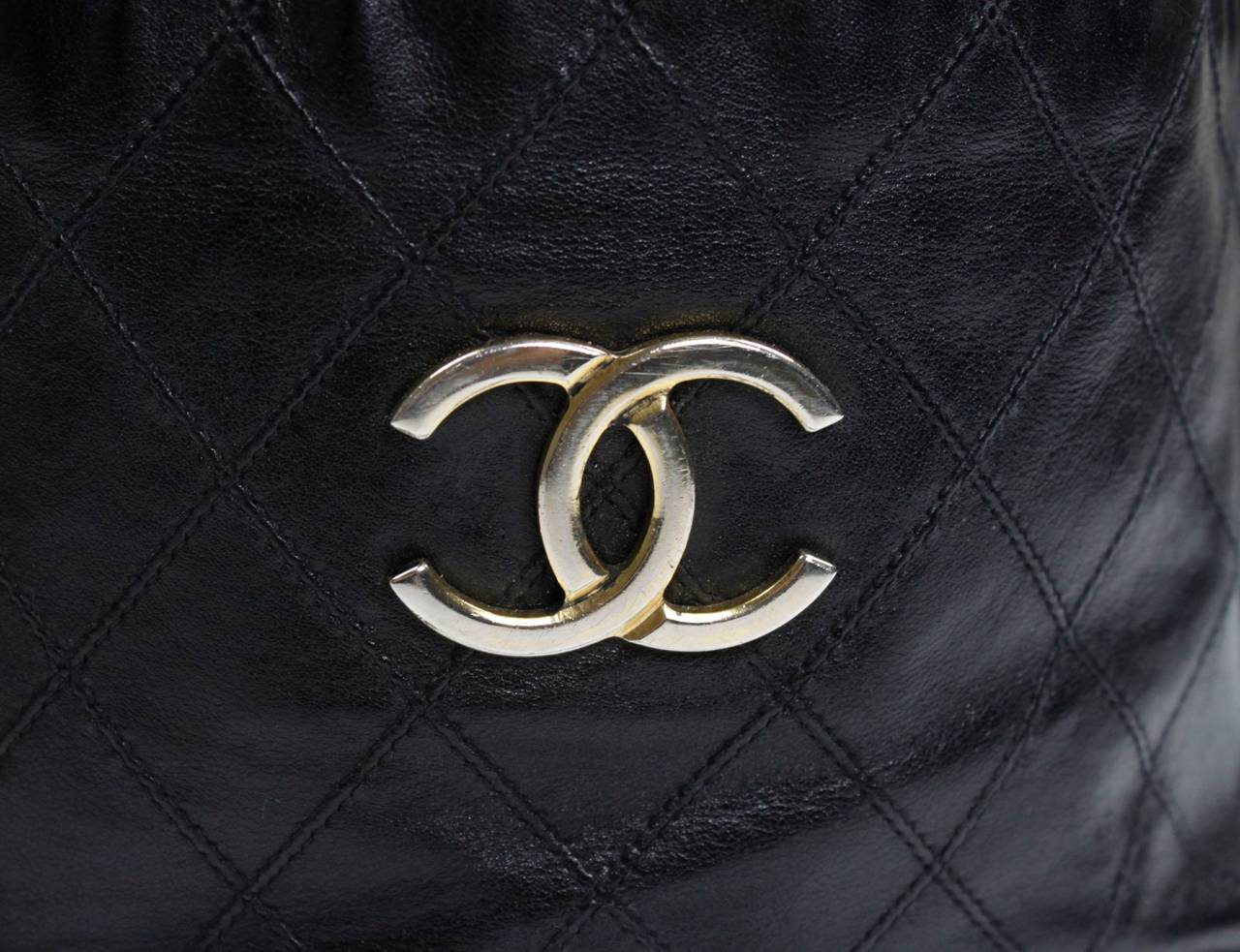Chanel Black Quilted Bucket Bag with Logo and Chain Strap 7