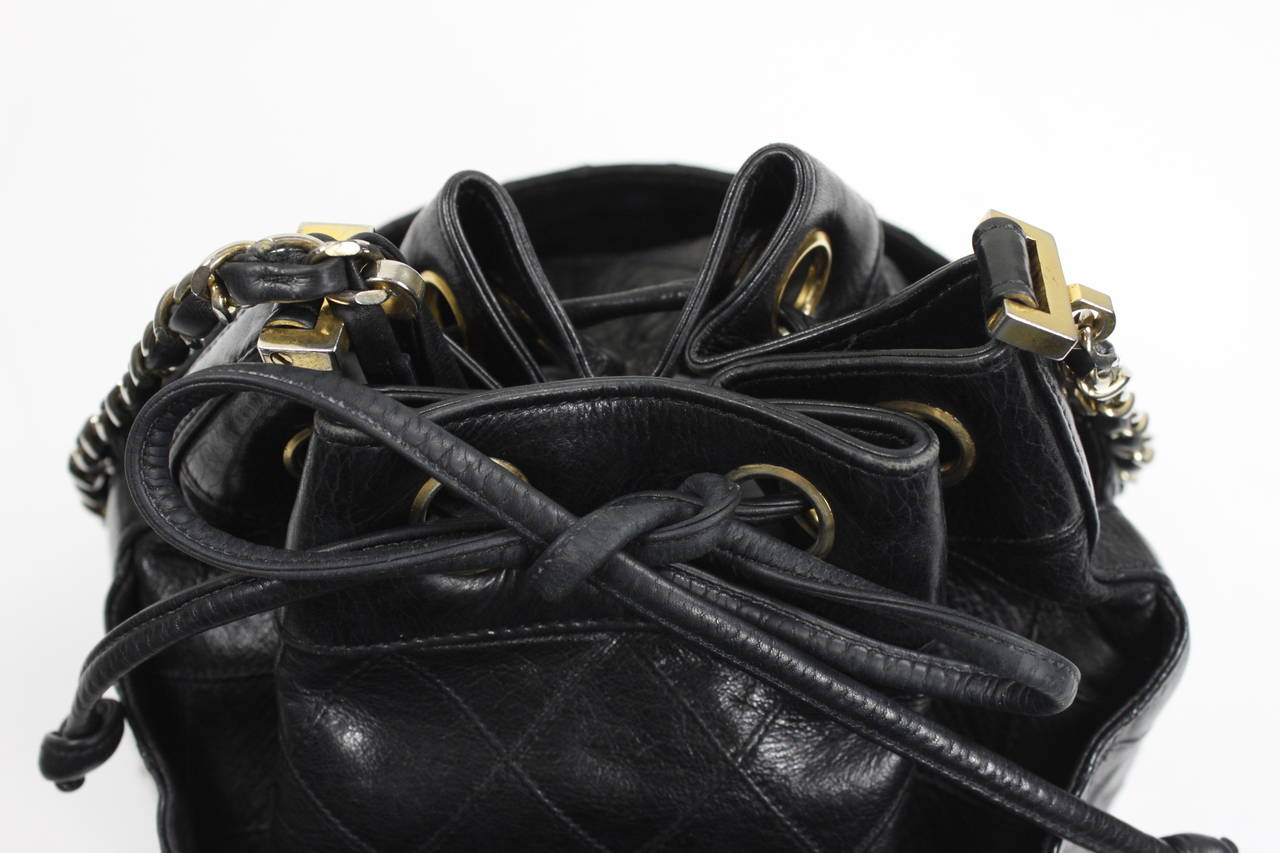 Chanel Black Quilted Bucket Bag with Logo and Chain Strap 5