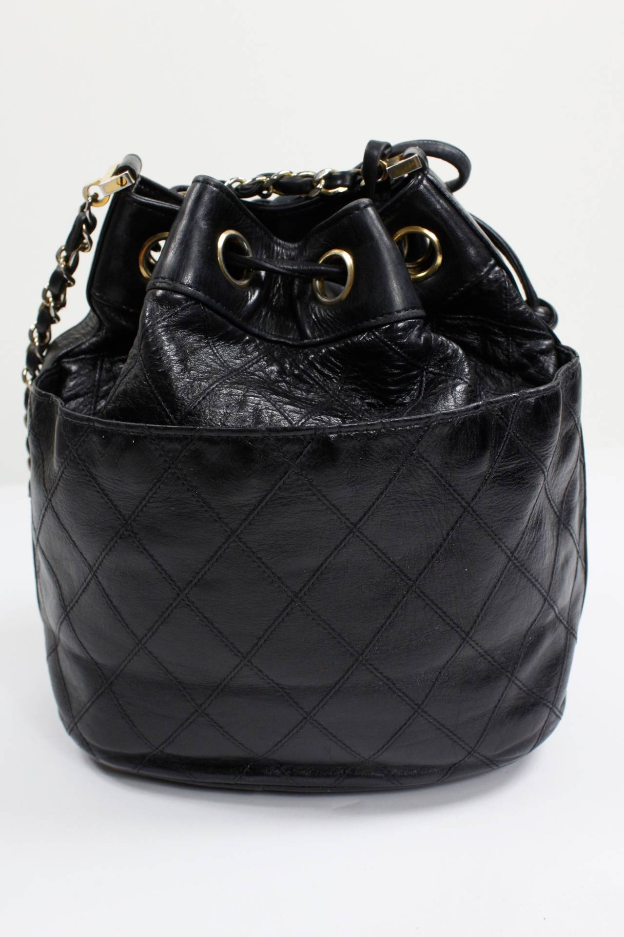 Chanel Black Quilted Bucket Bag with Logo and Chain Strap 4