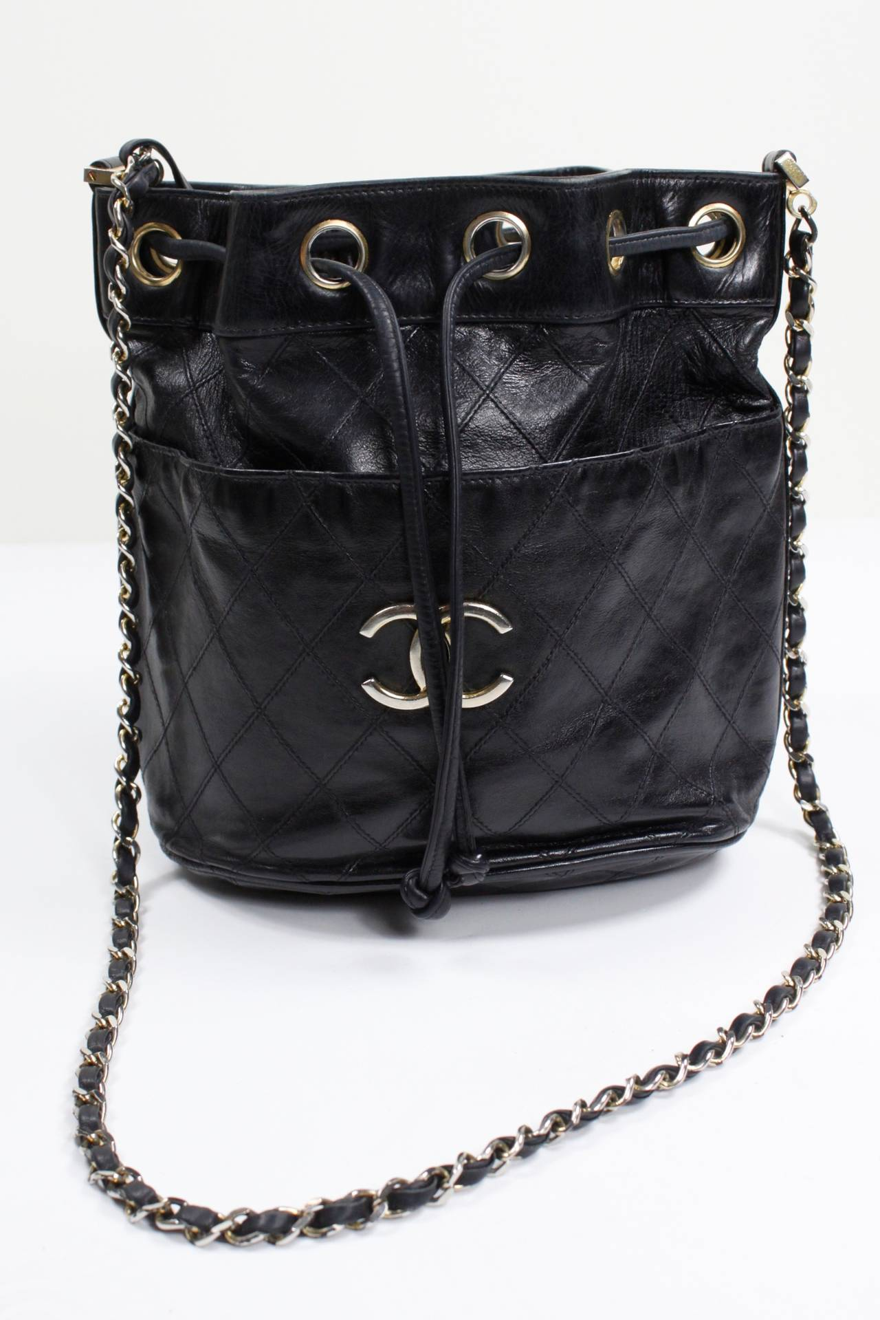Chanel Black Quilted Bucket Bag with Logo and Chain Strap 3
