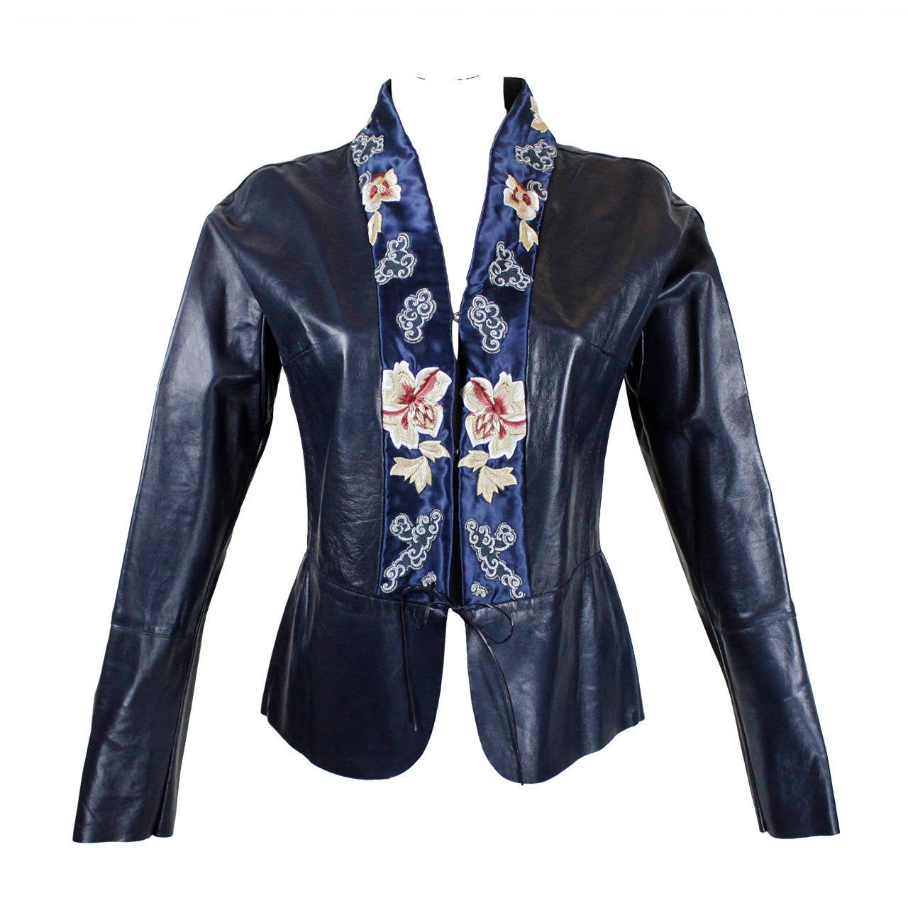 Blumarine Navy Leather Jacket with Japanese Inspired Embroidery For Sale