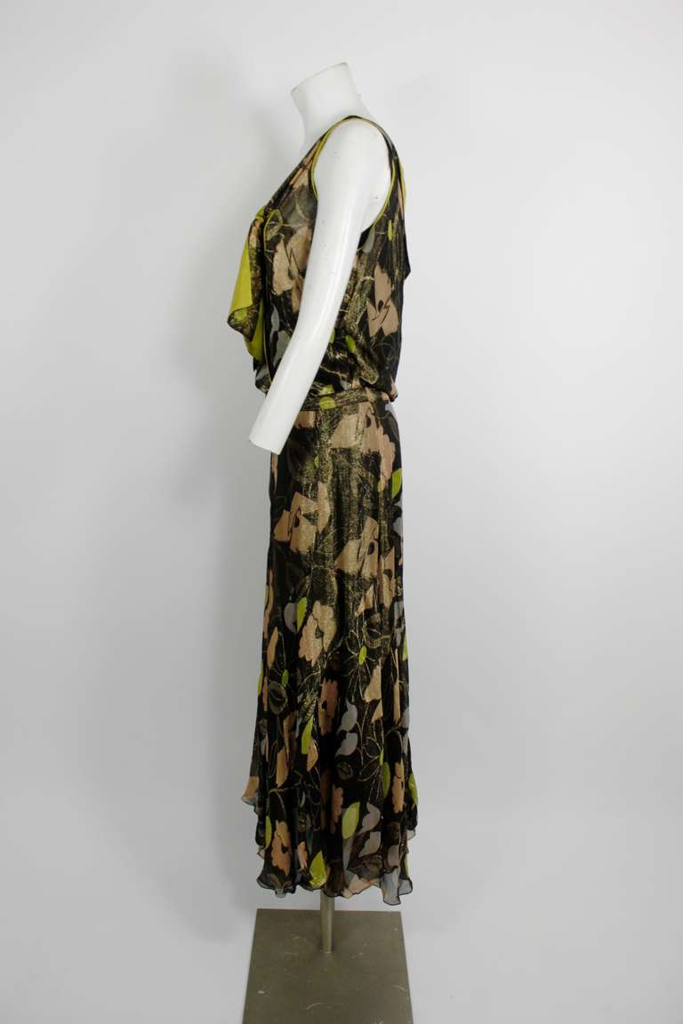 1930s floral lam 233 dress with jeweled belt for sale at 1stdibs