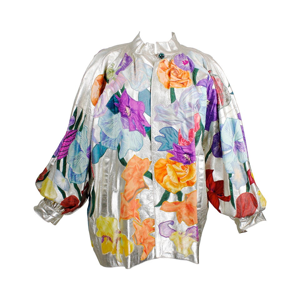 YSL Couture Silver Leather with Rainbow Floral Appliqué Jacket 1
