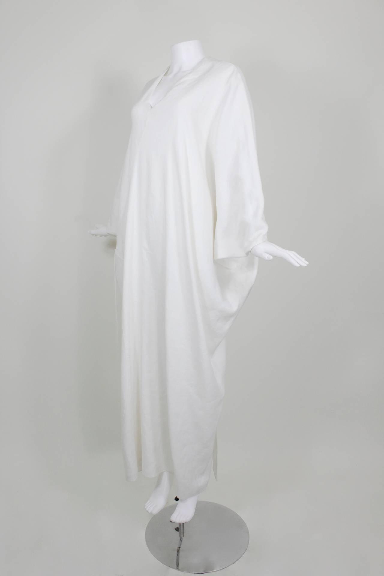 Chado Ralph Rucci White Linen Modern Caftan 2