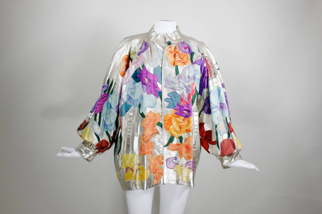 YSL Couture Silver Leather with Rainbow Floral Appliqué Jacket 6