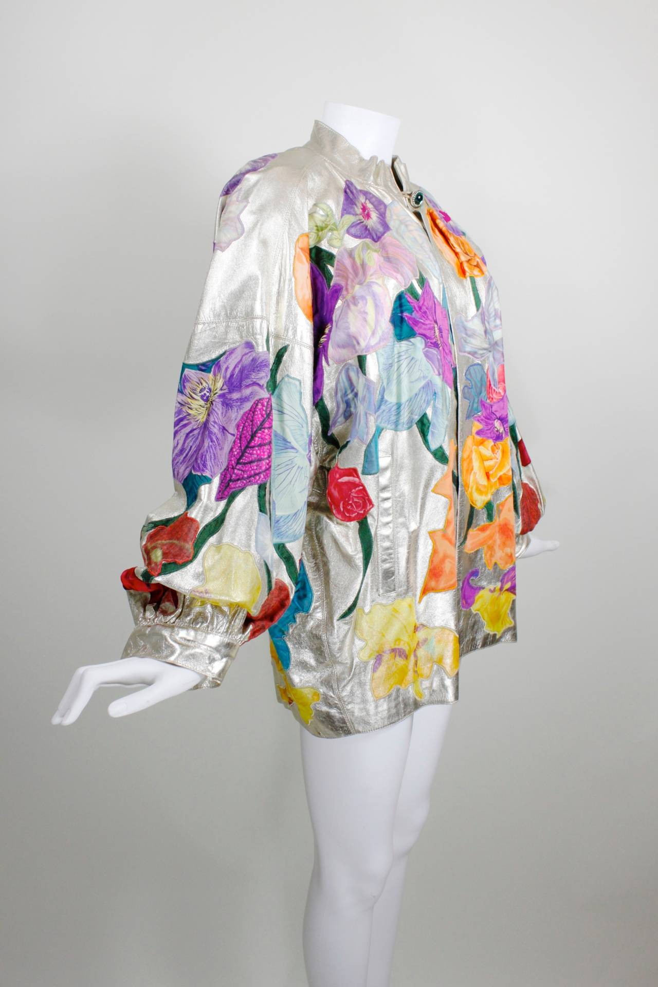 YSL Couture Silver Leather with Rainbow Floral Appliqué Jacket 2