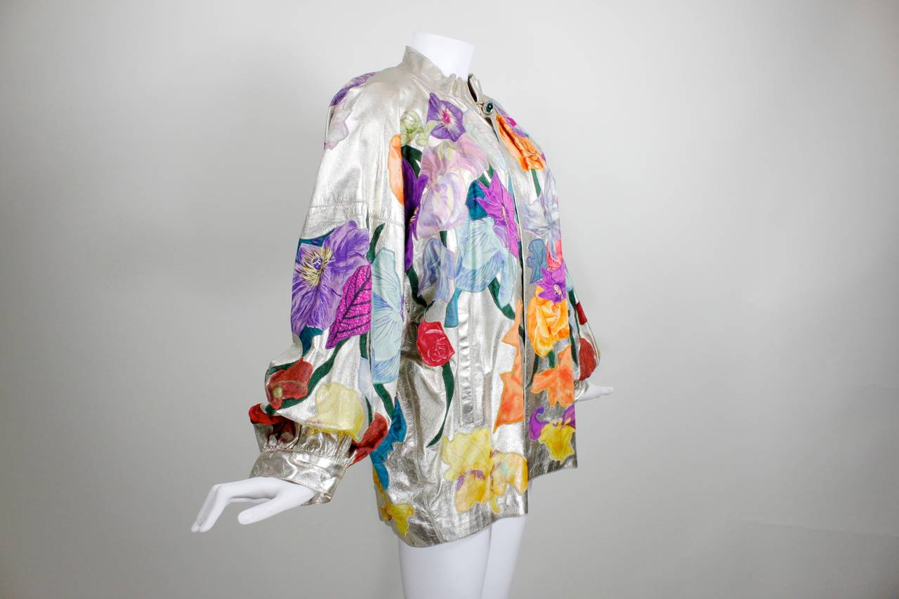 YSL Couture Silver Leather with Rainbow Floral Appliqué Jacket 3