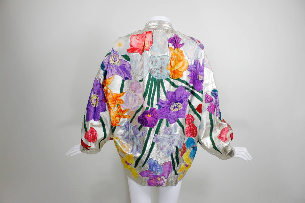 YSL Couture Silver Leather with Rainbow Floral Appliqué Jacket 4