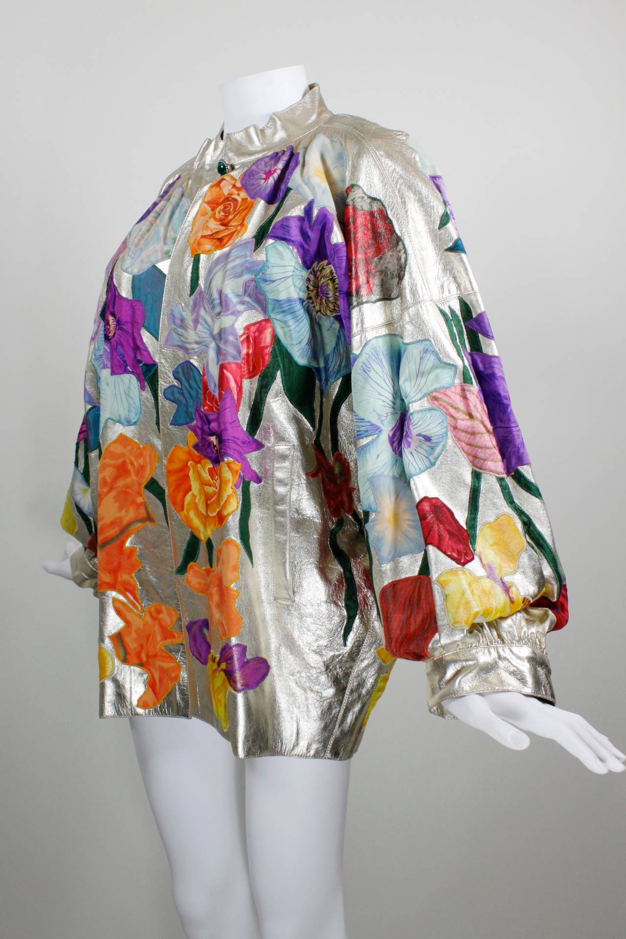 YSL Couture Silver Leather with Rainbow Floral Appliqué Jacket 5