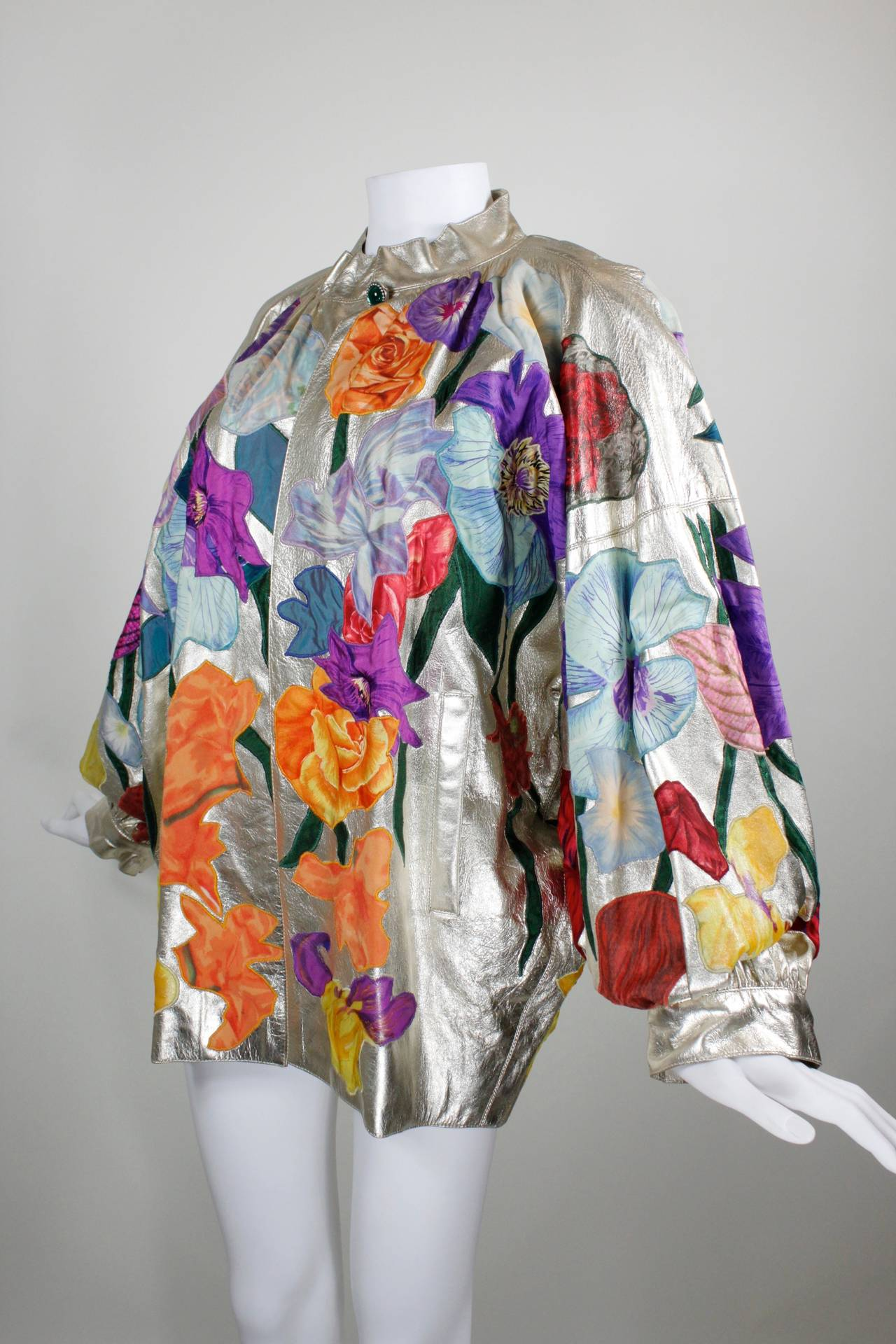 YSL Couture Silver Leather with Rainbow Floral Appliqué Jacket 7