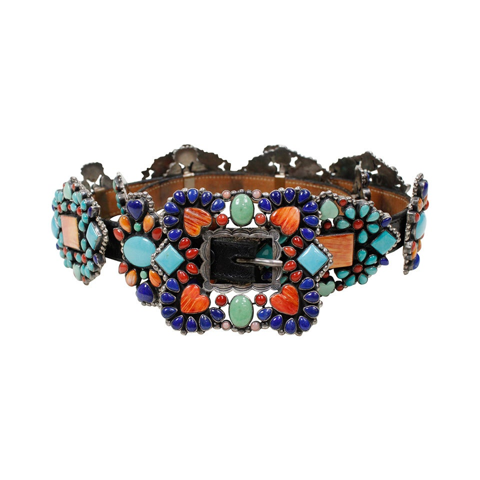 1980s Native American Inspired Concho Belt 1