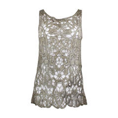 1920s Lace Cutout Blouse with Gold Lamé Embroidery and Beading