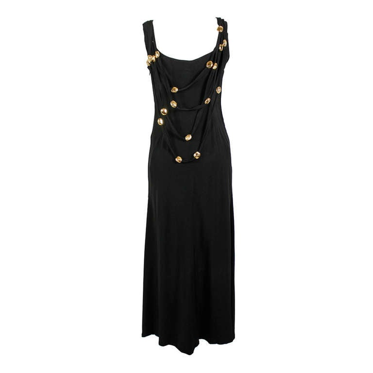 Christian Lacroix 1990s Black Evening Gown with Gold Baubles For Sale