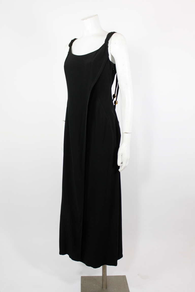 Christian Lacroix 1990s Black Evening Gown with Gold Baubles In Excellent Condition For Sale In Los Angeles, CA