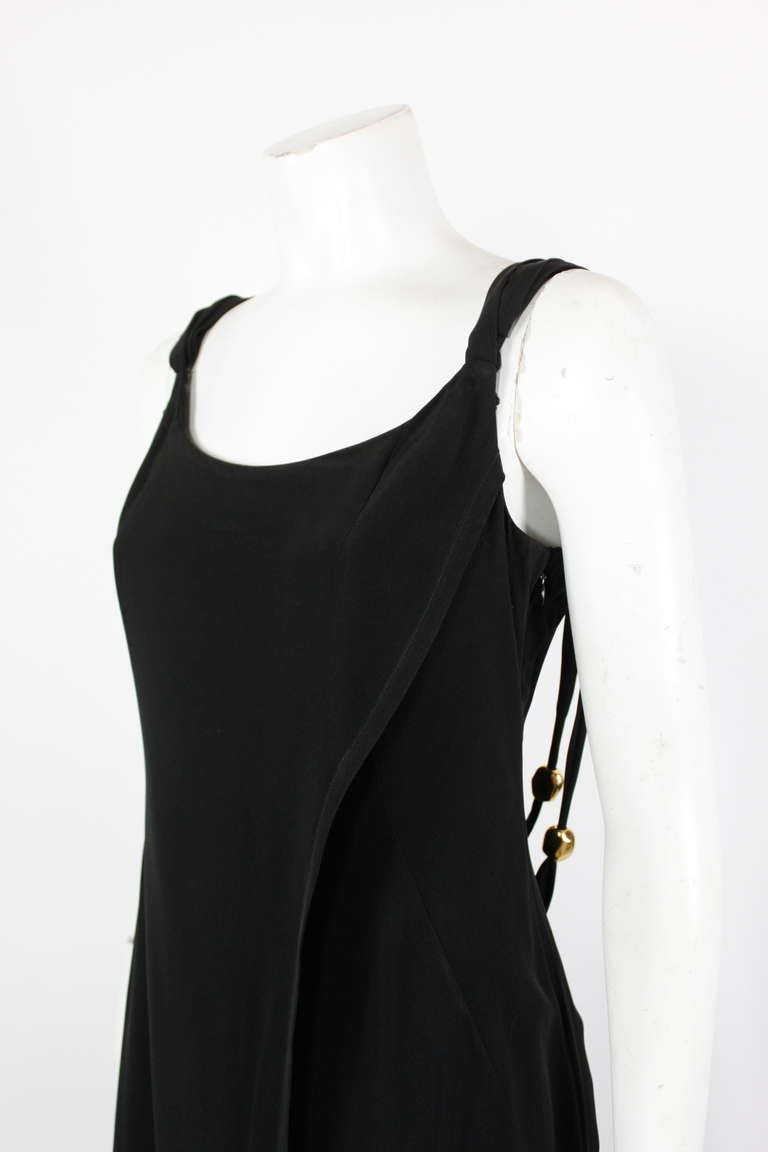 Women's Christian Lacroix 1990s Black Evening Gown with Gold Baubles For Sale