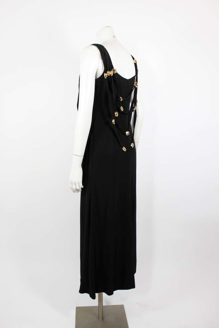 Christian Lacroix 1990s Black Evening Gown with Gold Baubles For Sale 1