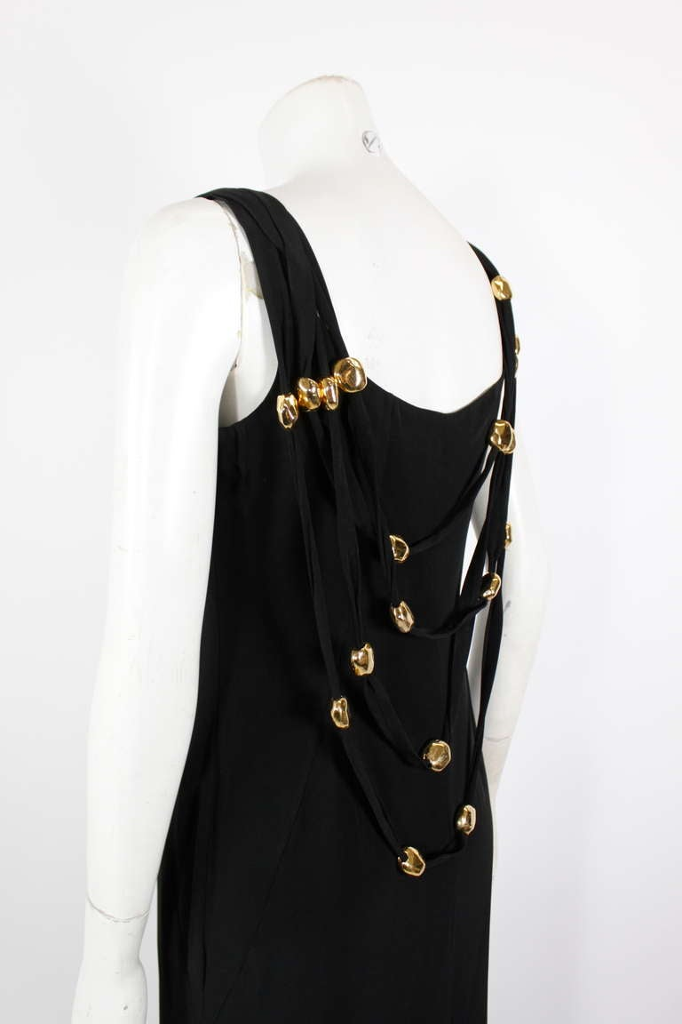 Christian Lacroix 1990s Black Evening Gown with Gold Baubles For Sale 2