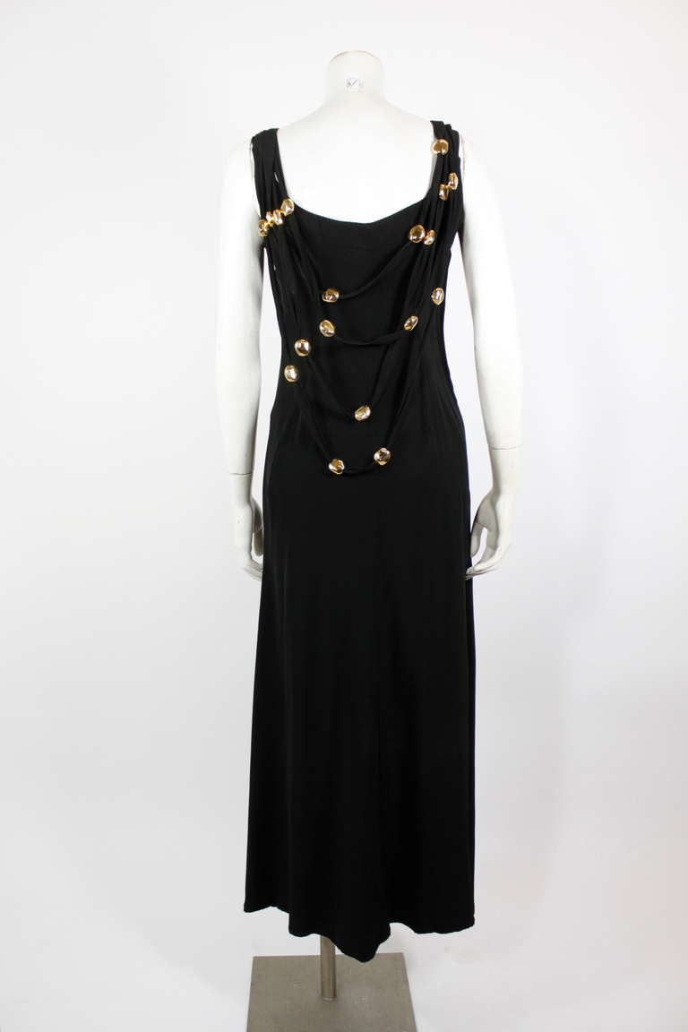 Christian Lacroix 1990s Black Evening Gown with Gold Baubles For Sale 3