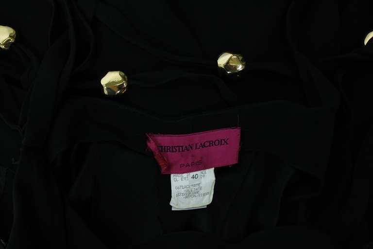 Christian Lacroix 1990s Black Evening Gown with Gold Baubles For Sale 6