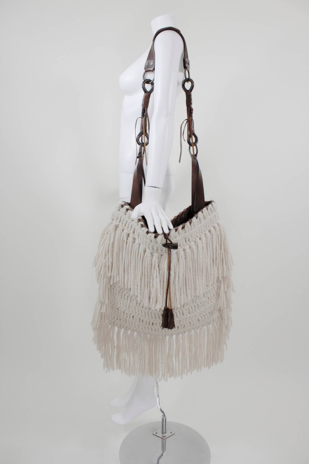 Dolce And Gabbana Oversized Boho Crochet Fringed Satchel