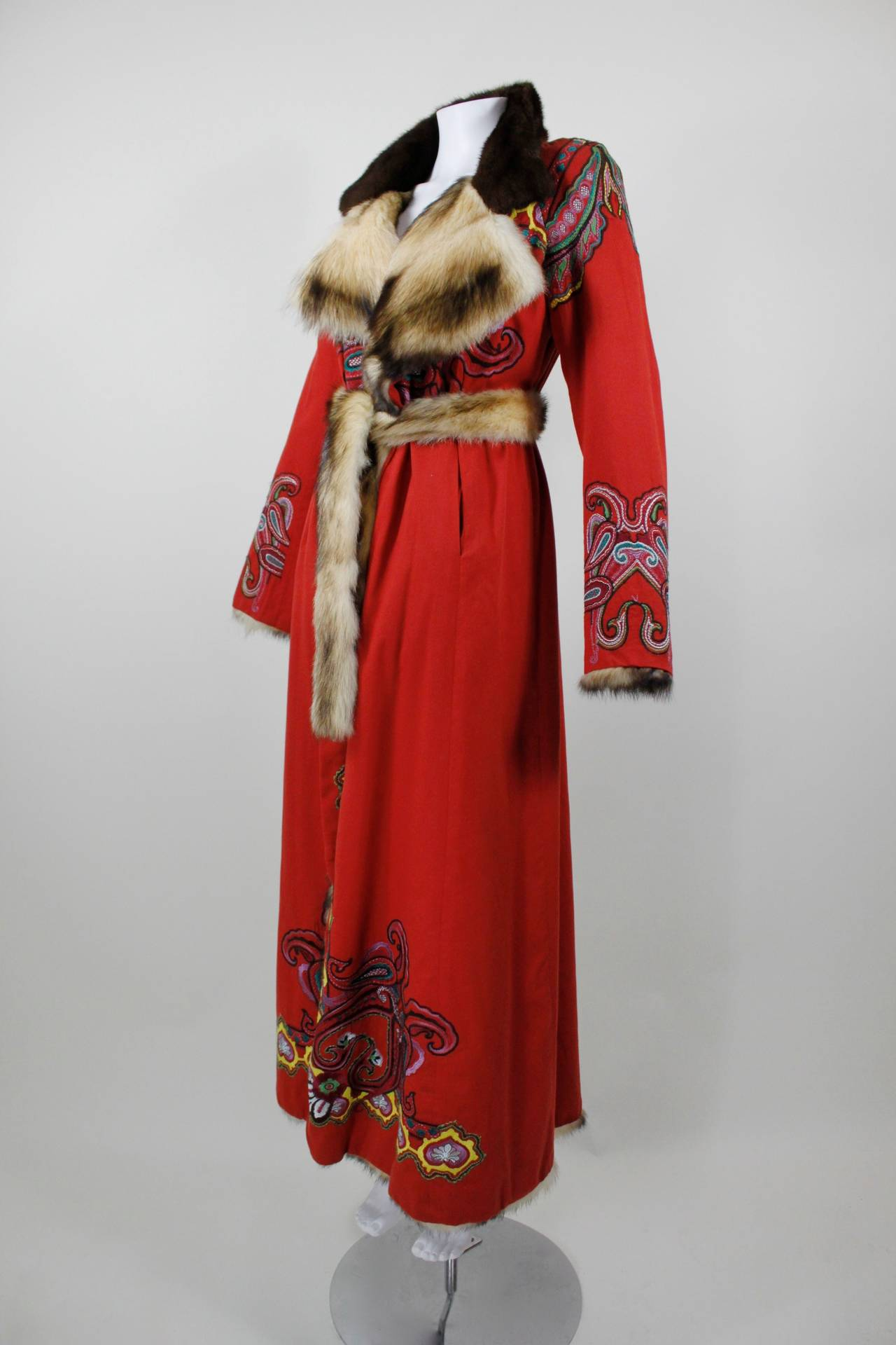 Christian Lacroix Full Length Red Embroidered Coat With