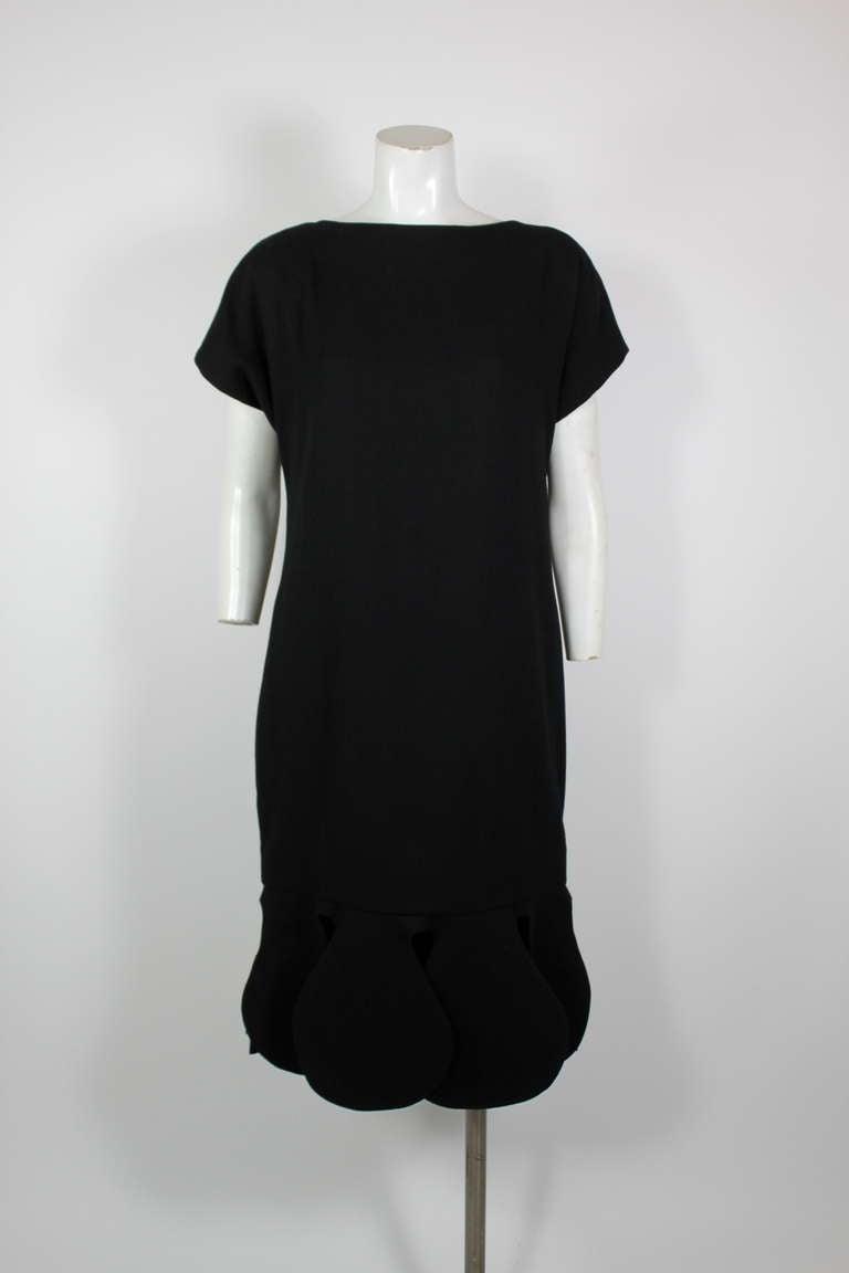 Pierre Cardin 1960s Black Piqué Teardrop Dress 2