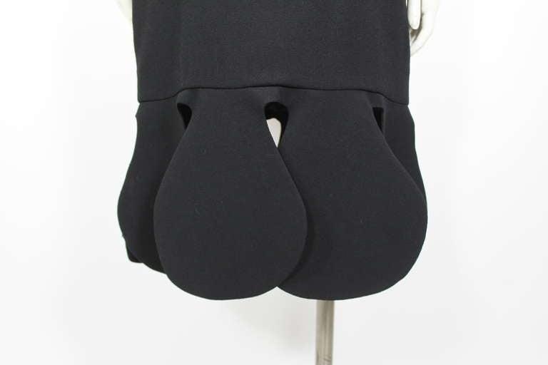 Pierre Cardin 1960s Black Piqué Teardrop Dress 3