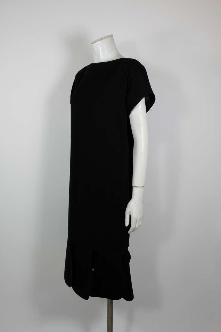 Pierre Cardin 1960s Black Piqué Teardrop Dress 4