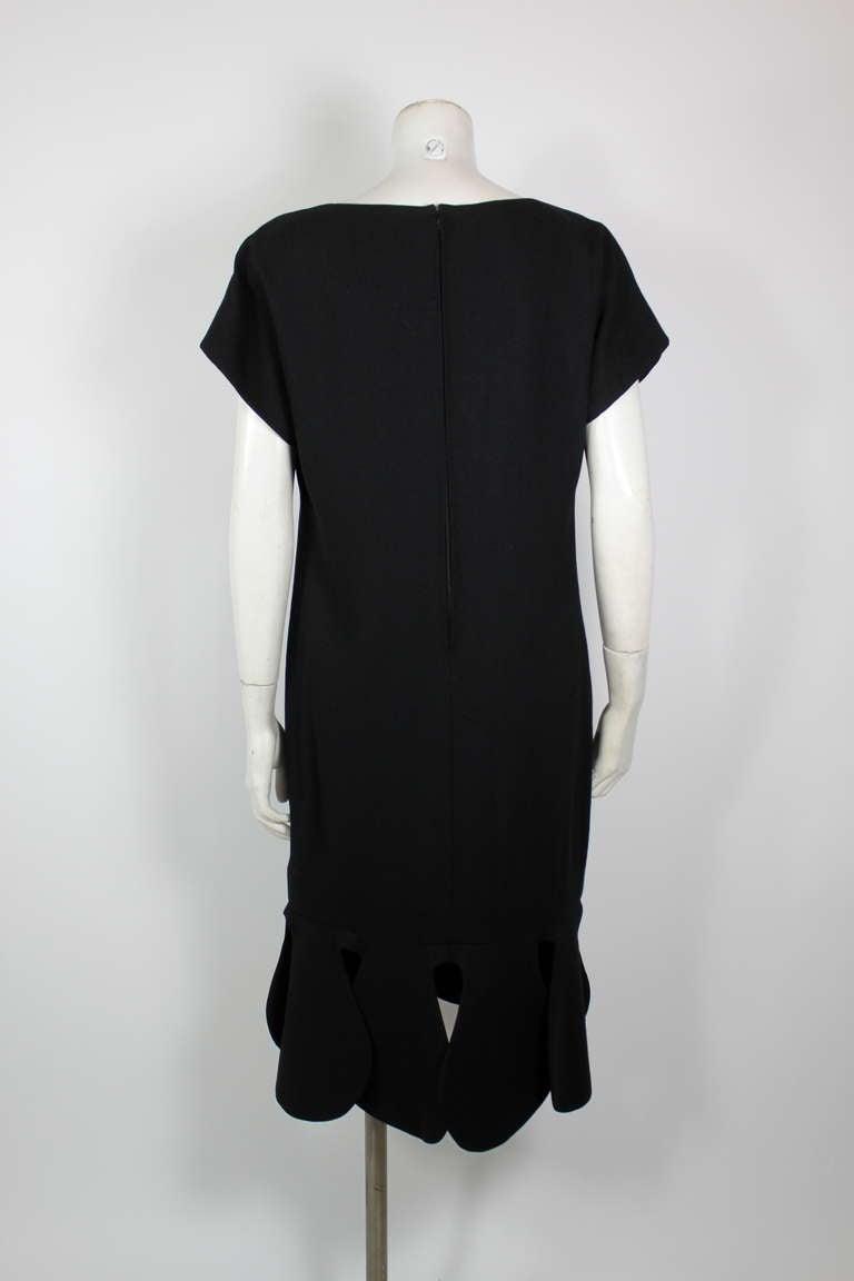 Pierre Cardin 1960s Black Piqué Teardrop Dress 5