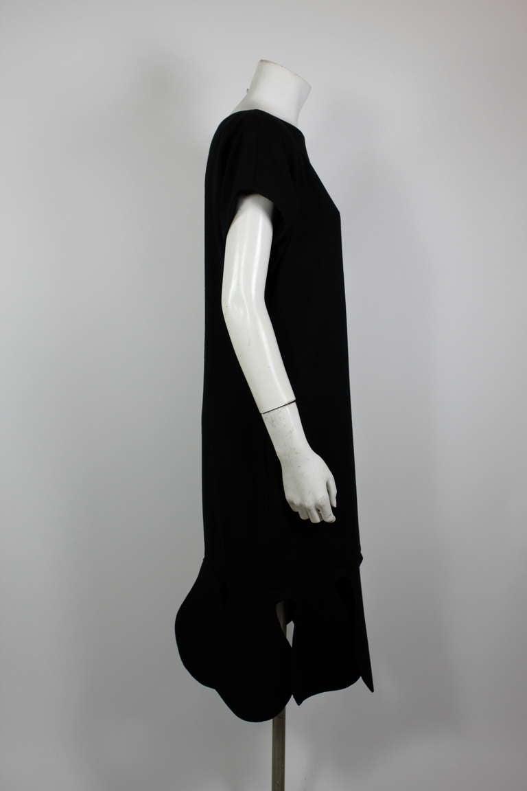 Pierre Cardin 1960s Black Piqué Teardrop Dress 6