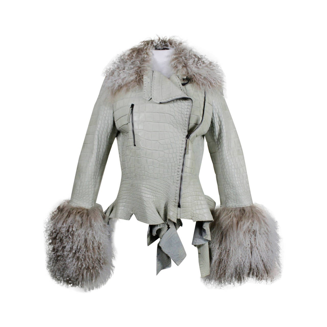 Ungaro Embossed Leather Moto Jacket with Mongolian Fur Trim at 1stdibs