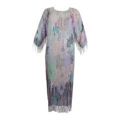 Louis Feraud Pastel Beaded Fringe Party Dress