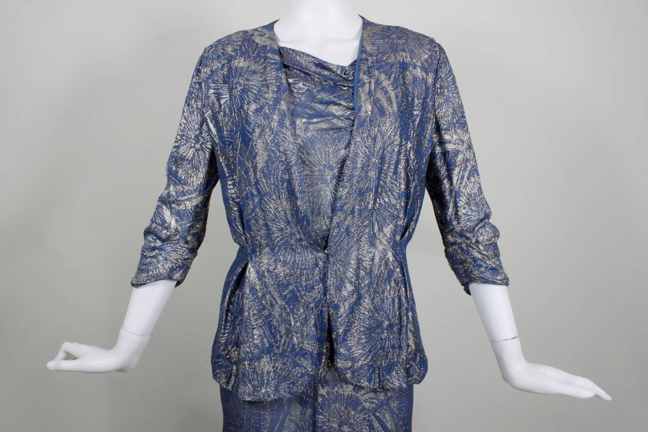 1930s Blue Floral Lam 233 Evening Gown With Peplum Jacket For