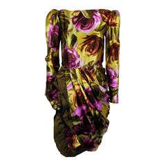 Paul Louis Orrier 1980s Jewel-Tone Floral Party Dress