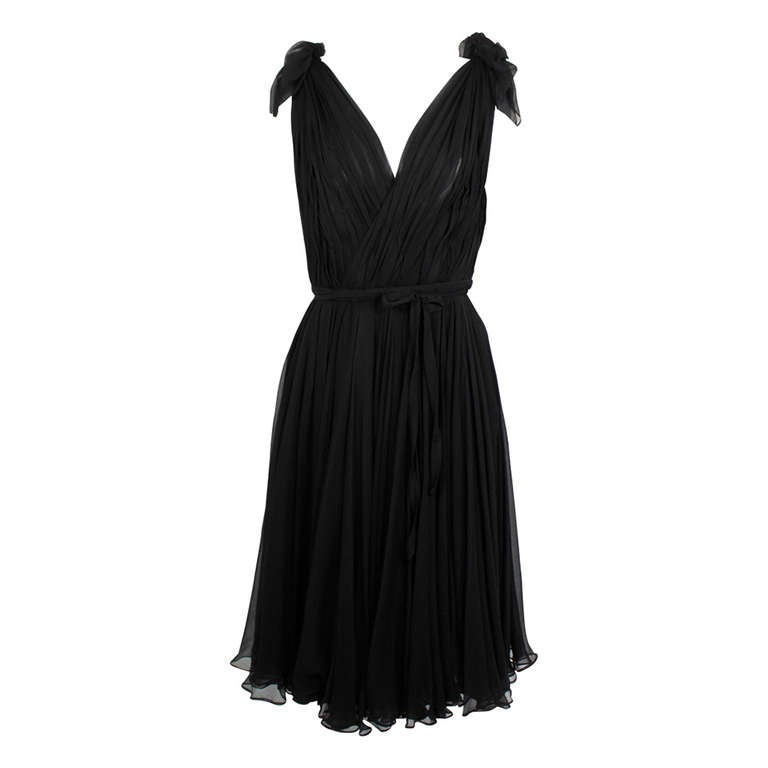 Alexander McQueen Black Swan Chiffon Cocktail Dress 1