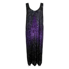1920s Dazzling Purple and Black Ombré Party Dress with Scalloped Hem