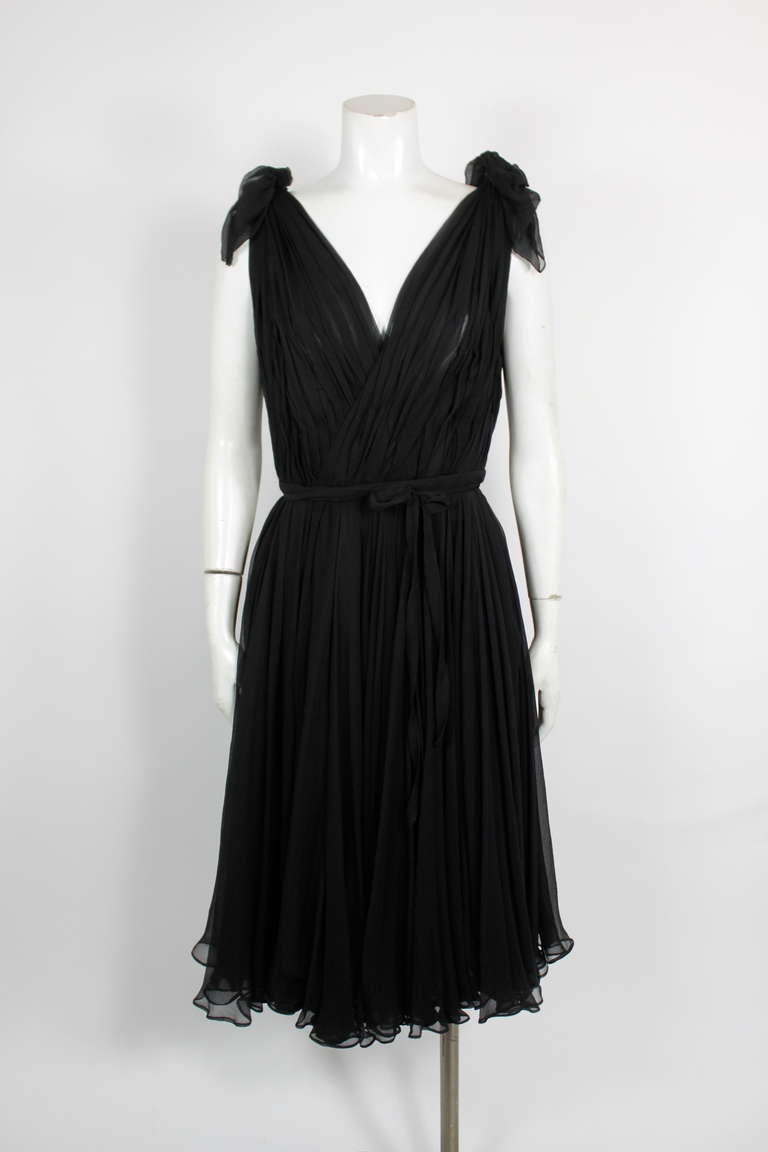 Alexander McQueen Black Swan Chiffon Cocktail Dress 2