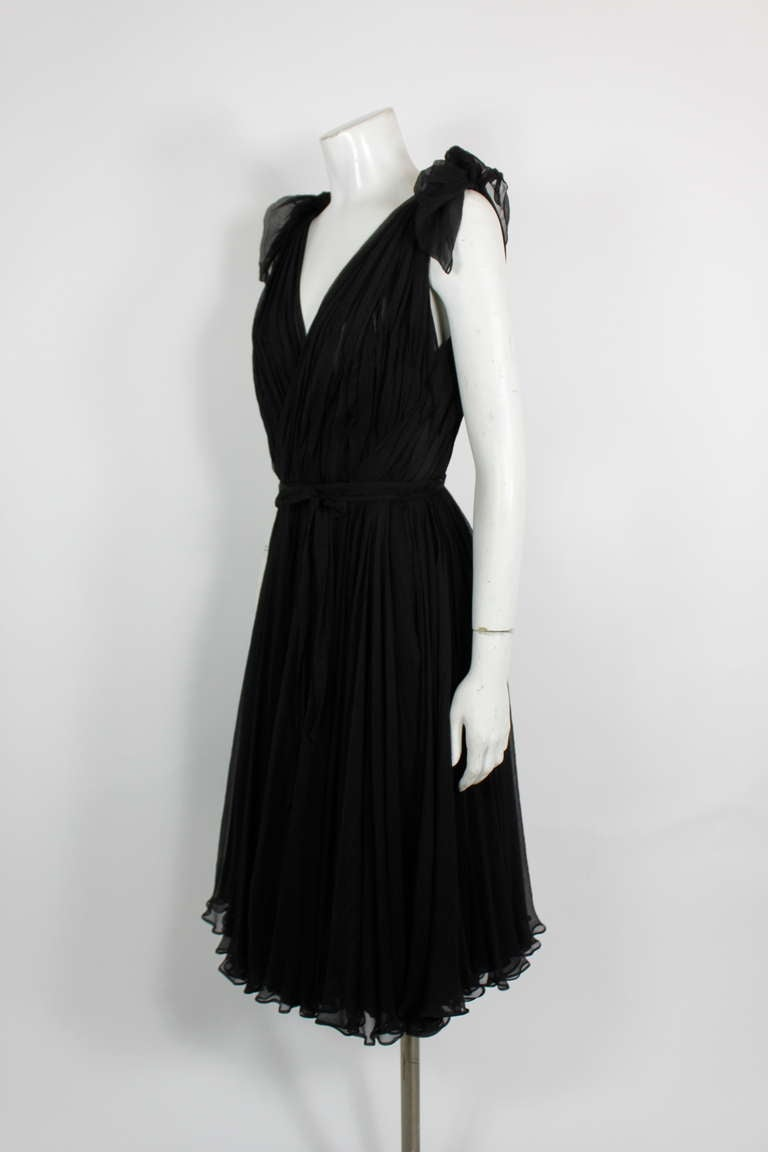 Alexander McQueen Black Swan Chiffon Cocktail Dress 4