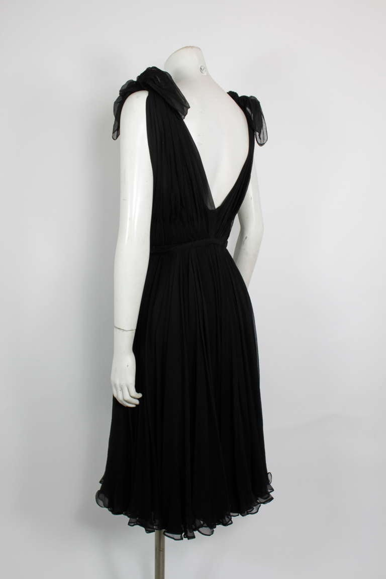 Alexander McQueen Black Swan Chiffon Cocktail Dress 6