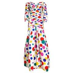 Arnold Scaasi 80s Rainbow Polka Dot Gown