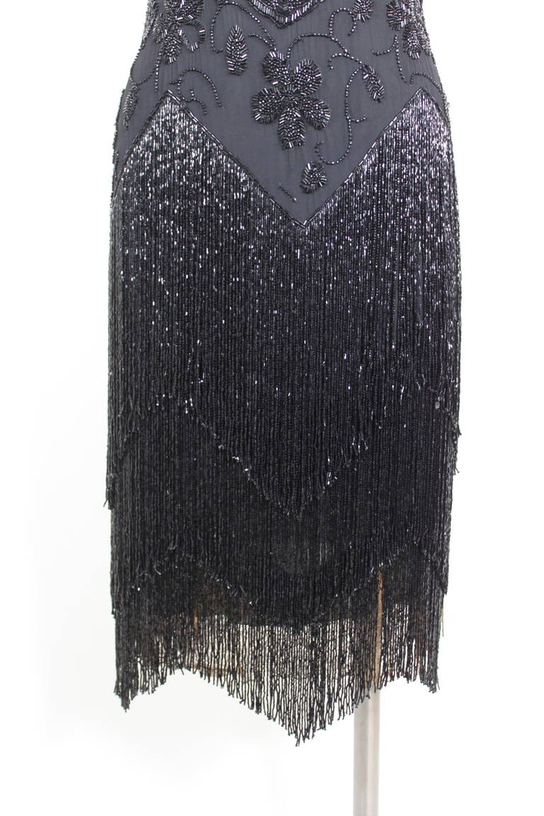 1920s Jet Black Beaded Fringe Flapper Dress 3