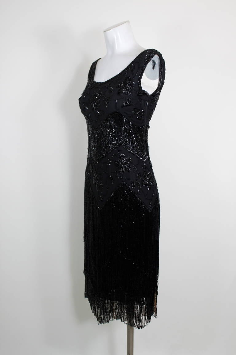 1920s Jet Black Beaded Fringe Flapper Dress 4