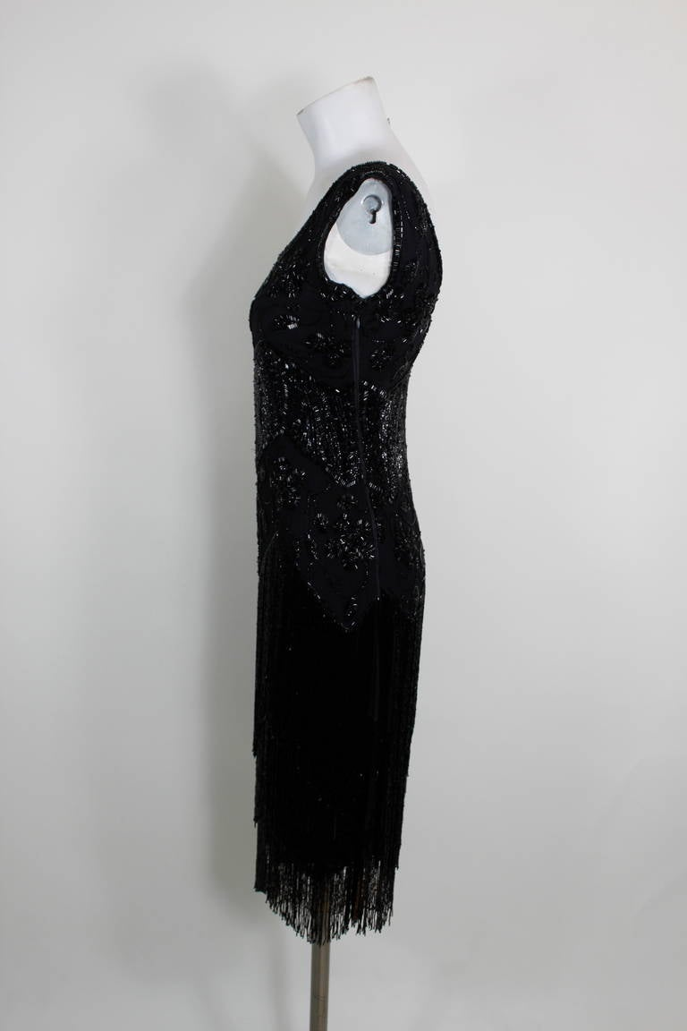 1920s Jet Black Beaded Fringe Flapper Dress 6