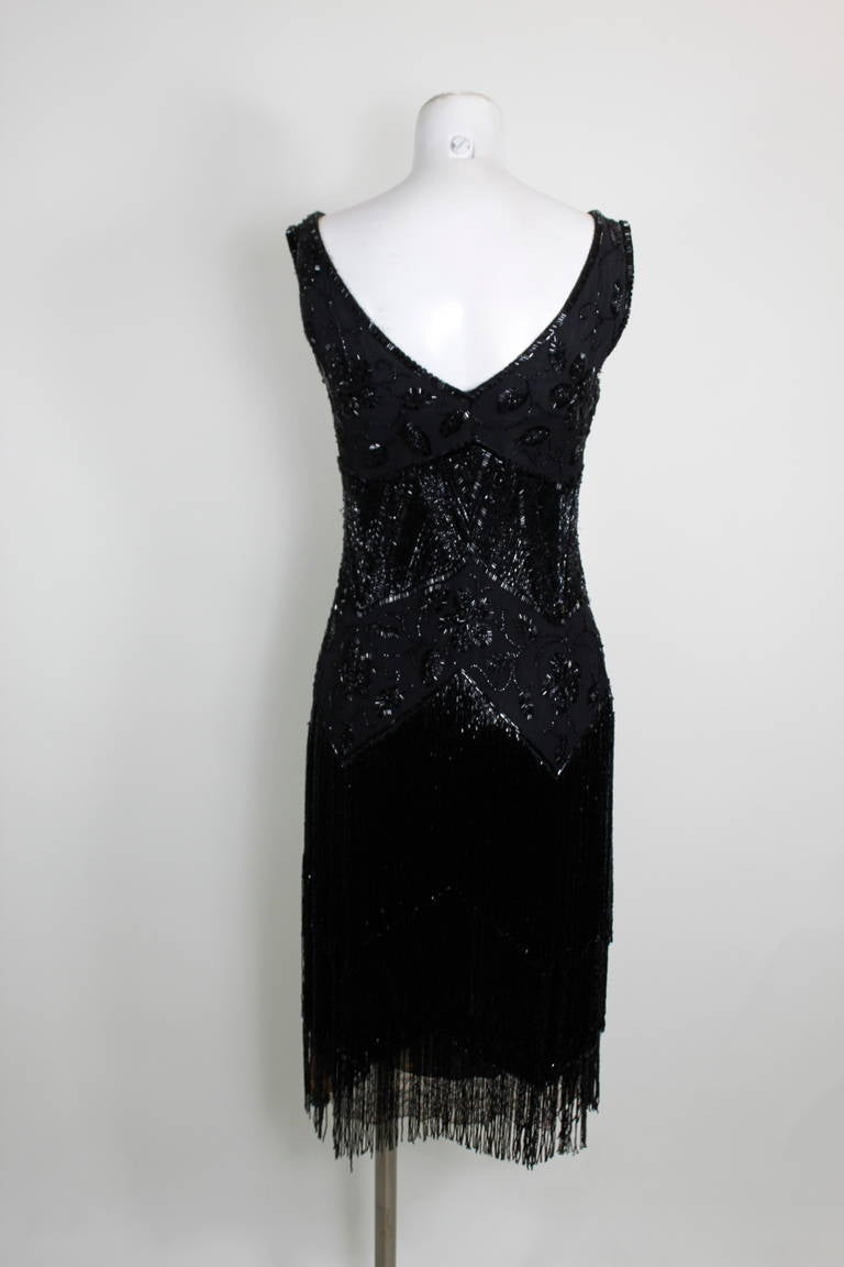 1920s Jet Black Beaded Fringe Flapper Dress 7