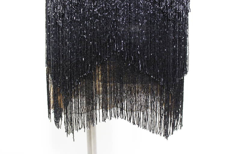 1920s Jet Black Beaded Fringe Flapper Dress 8