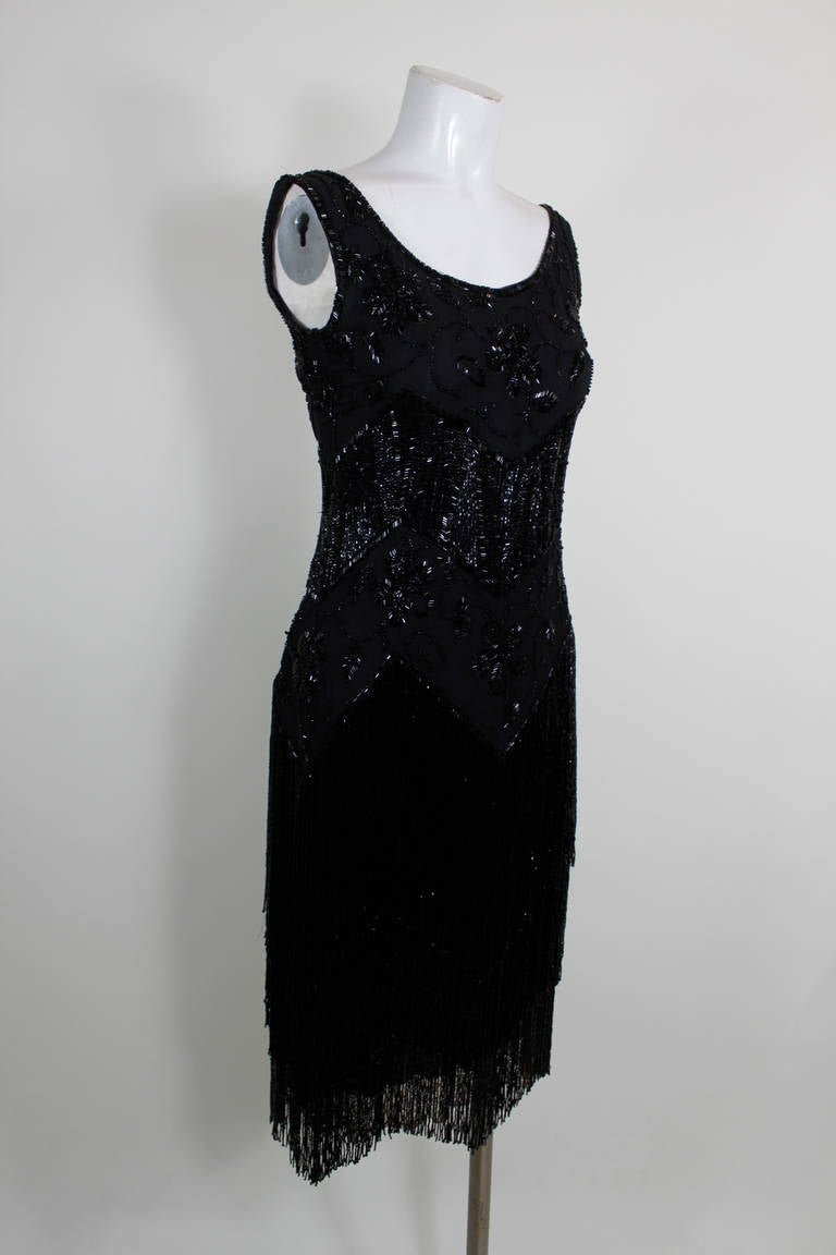 1920s Jet Black Beaded Fringe Flapper Dress 10