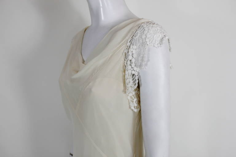 1930s cream lace and chiffon bias gown with jacket for