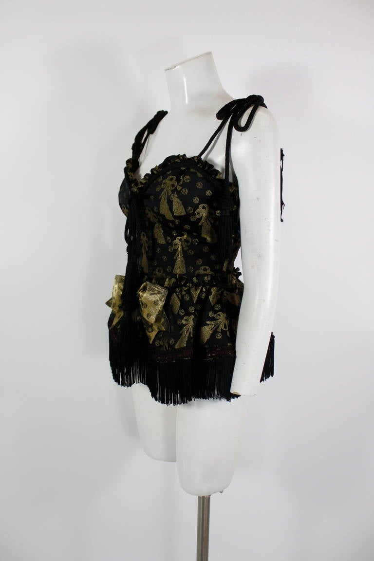 Moschino 1990s Black and Gold Brocade Lampshade Bustier 2