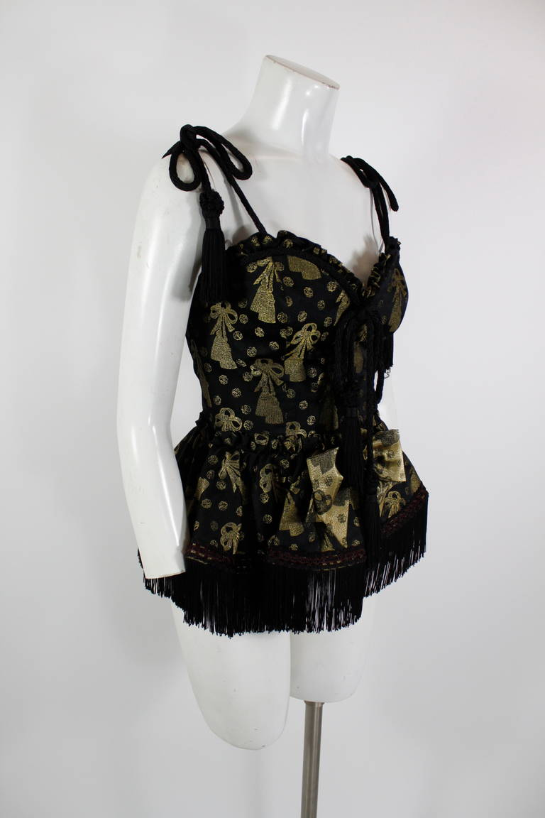 Moschino 1990s Black and Gold Brocade Lampshade Bustier 3
