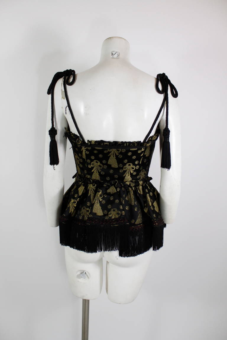 Moschino 1990s Black and Gold Brocade Lampshade Bustier 4